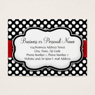 Black/White Polka Dot Red Ribbon Business Card