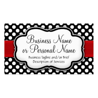 Black/White Polka Dot Red Ribbon Front/Back Double-Sided Standard Business Cards (Pack Of 100)