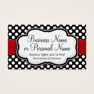 Black/White Polka Dot Red Ribbon Front/Back Business Card
