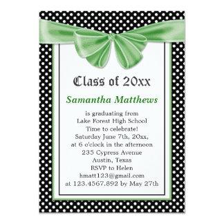 Black white polka dot ribbon Graduation Invitation
