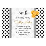Black white polka dot rose Birthday Party Announcements