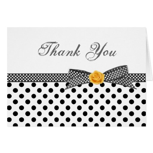 Black white polka dot rose Thank You Card