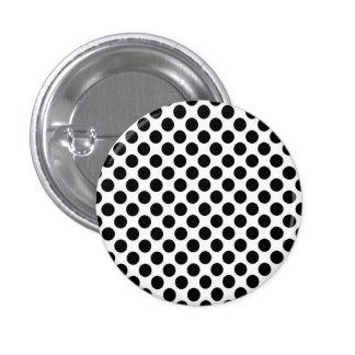 Black & White Polka Dot Round Button