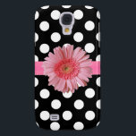 "Black &amp; White Polka Dot Samsung S4 Case<br><div class=""desc"">Pretty Samsung S4 phone case done in black with white polka dots.  Realistic graphics of a pink grosgrain ribbon,  with a pink Gerber daisy decorates the middle.  Lovely way to be stylish and protect your phone at the same time.  Customize to add any text you want.</div>"