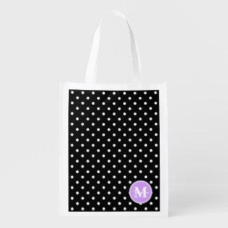 Black White Polka Dot Spot Pattern Monogrammonogra Market Tote