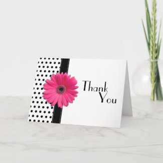 Black & White Polka Dot Thank You Card card