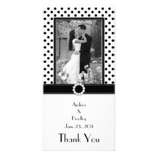 Black White Polka Dot Wedding Photo Photocard Card
