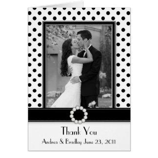 Black White Polka Dot Wedding Photo Thank You Card