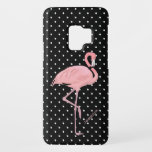 "Black &amp; White Polka Dot with Flamingo Samsung S9 Case-Mate Samsung Galaxy S9 Case<br><div class=""desc"">Add a decorative style to your Samsung Galaxy S9 case with this fun flamingo case.  Graphics of a black and white polka dot pattern as a background,  with a pale pink flamingo,  in the middle.  Personalize the pink text,  at the bottom,  for yourself or as a fun gift idea.</div>"