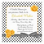 Black white polka dot yellow rose Bridal Shower Custom Announcements