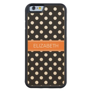 Black White Polka Dots #2 Pumpkin Name Monogram Carved Maple iPhone 6 Bumper Case