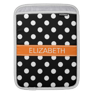 Black White Polka Dots #2 Pumpkin Name Monogram Sleeve For iPads