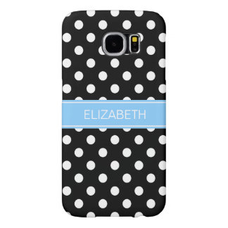 Black White Polka Dots #2 Sky Blue Name Monogram Samsung Galaxy S6 Cases