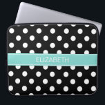 "Black White Polka Dots #2 Turquoise Name Monogram Laptop Sleeve<br><div class=""desc"">Black and White Polka Dots Pattern #2, Turquoise Aqua Ribbon Name Monogram Label Customize this with your name, monogram or other text. You can also change fonts, adjust font sizes and font colors, move and rotate the text, etc. Please note that this is a digitally created graphic design that&#39;s transferred...</div>"