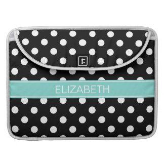 Black White Polka Dots #2 Turquoise Name Monogram Sleeve For MacBook Pro