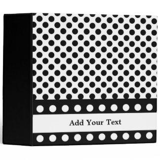 """Black & White Polka Dots 3 Ring  2"""" Binder"""
