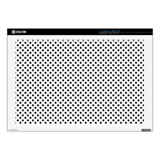 """Black & White Polka Dots Abstract Decals For 17"""" Laptops"""