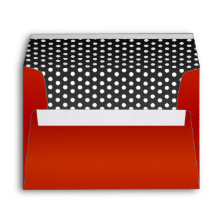 Black & White Polka Dots and Deep Red Envelope