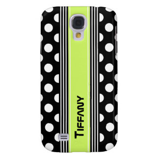 Black & White Polka Dots and Stripes Custom Galaxy S4 Covers