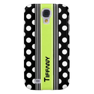 Black & White Polka Dots and Stripes Custom Samsung Galaxy S4 Cover