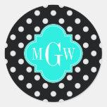 Black White Polka Dots Aqua Quatrefoil 3 Monogram Classic Round Sticker