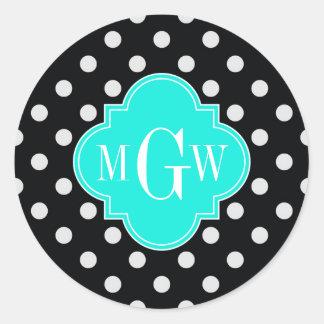 Black White Polka Dots Aqua Quatrefoil 3 Monogram Round Stickers