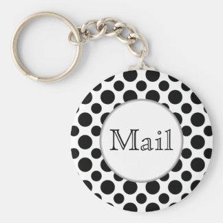 Black White Polka Dots Big and Small Mail Keychain