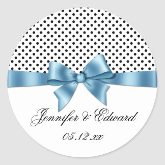 Black White Polka Dots Blue Ribbon Save The Date Classic Round Sticker