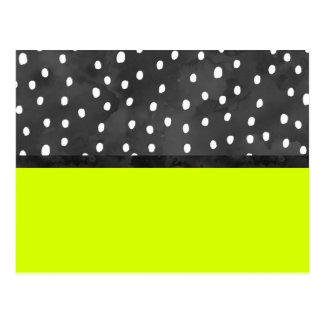 Black white polka dots bold neon lime color block postcard