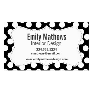 Black & White Polka Dots Business Card Template