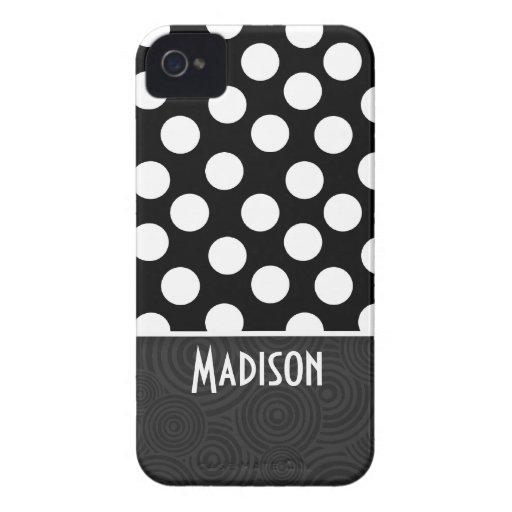 Black & White Polka Dots iPhone 4 Cases