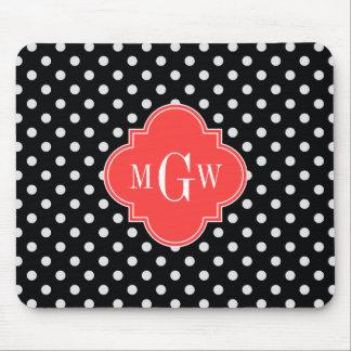 Black White Polka Dots Coral Quatrefoil 3 Monogram Mouse Pads