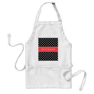 Black White Polka Dots Coral Red Name Monogram Adult Apron