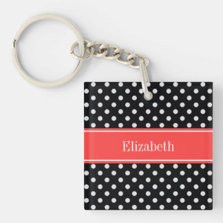 Black White Polka Dots Coral Red Name Monogram Keychain