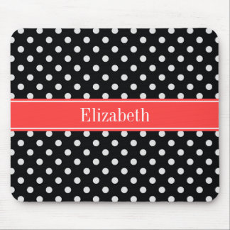 Black White Polka Dots Coral Red Name Monogram Mouse Pad