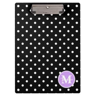 Black White Polka Dots Custom Purple Monogram Clipboards