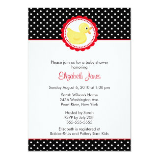 Black & White Polka Dots Duck Baby Shower 5x7 Paper Invitation Card