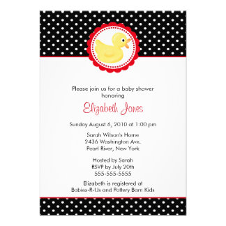 Black White Polka Dots Duck Baby Shower Personalized Announcement