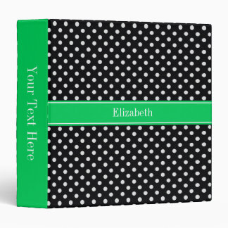Black White Polka Dots Emerald Name Monogram 3 Ring Binder