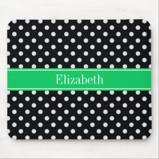 Black White Polka Dots Emerald Name Monogram Mouse Pad