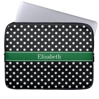 Black White Polka Dots Forest Green Name Monogram Laptop Sleeve