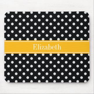 Black White Polka Dots Goldenrod Name Monogram Mouse Pad