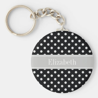 Black White Polka Dots Gray Name Monogram Keychain