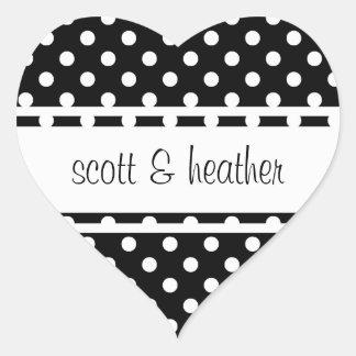 Black & White Polka Dots Heart Sticker