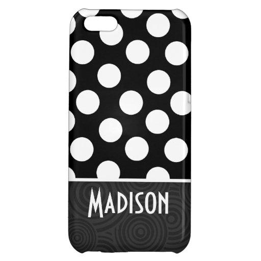 Black & White Polka Dots iPhone 5C Case