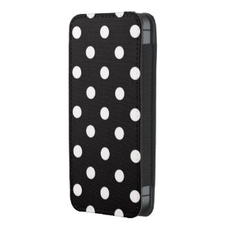 Black white polka dots iphone pouch