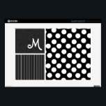 "Black &amp; White Polka Dots Laptop Skin<br><div class=""desc"">You will love this cute,  elegant  Black &amp; White Polka Dots  pattern design!  Visit our store,  Trendy Wedding,  to view this cool pattern on many more great customizable products,  including girly monogram gifts,  modern Save the Date postcards and wedding invitations!  Thank you!</div>"