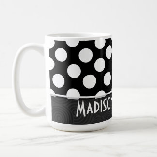 Black & White Polka Dots Classic White Coffee Mug
