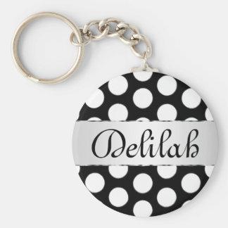 Black & White Polka dots name monogram Basic Round Button Keychain