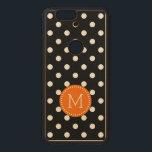"Black &amp; White Polka Dots Orange Accent Wood Nexus 6P Case<br><div class=""desc"">Carved Google Nexus 5 Slim Wood Case Design. Elegant classic white polka dots seamless pattern over customizable black background color. Orange and white circle with customizable monogram.</div>"